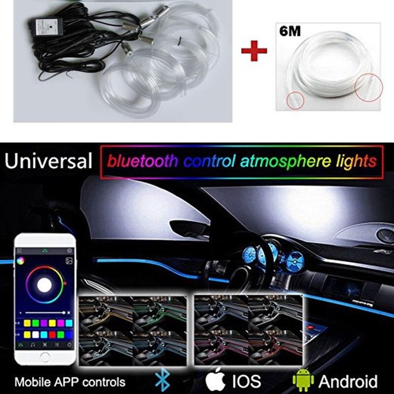 Nuevo sonido activo EL cable de neón tira de luz RGB LED luz Interior del coche Multicolor Bluetooth Control De Teléfono atmósfera 12 V Kit