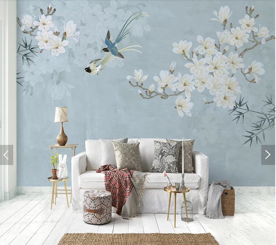 Flowers Wall Wallpapers Design For Your Bedrooms Decorating: Custom Floral Wallpaper, Magnolia Flower And Bird Mural