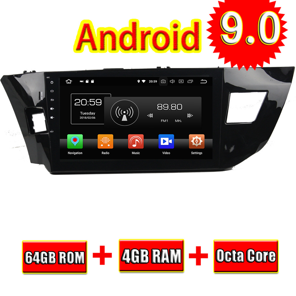 Topnavi Android 9.0 Quad Core Car Multimedia Player For Toyota LEVIN 2013 2015 (Without DVD) GPS Navigation With DDRIII 2GB RAM