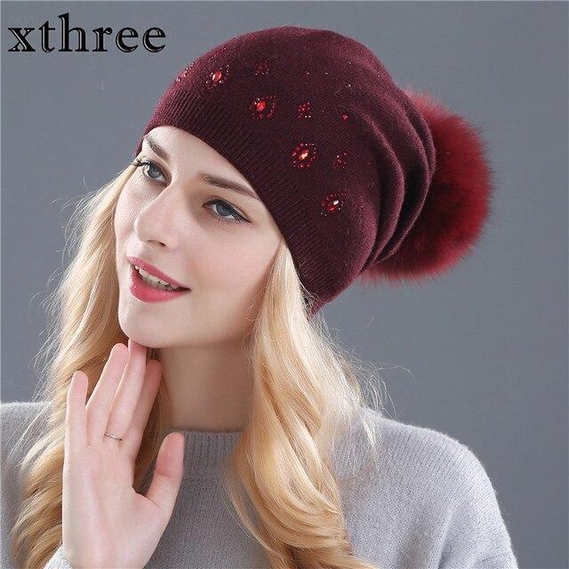 Las mujeres Xthree sombrero gorros de invierno para las mujeres brillante  Rhinestone piel de conejo de 3cd8ddca2c30