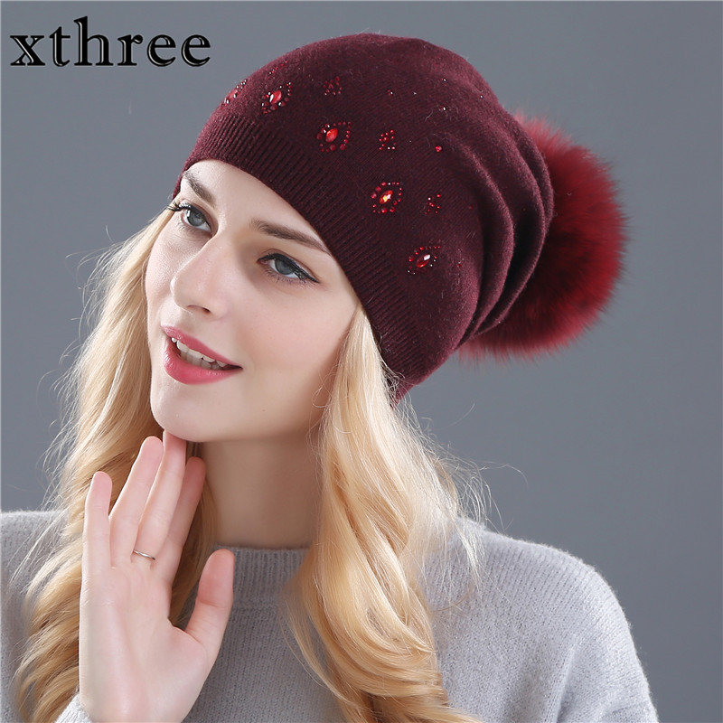 Xthree women winter beanies hat for women Shining Rhinestone Rabbit fur wool knitted hat the female of the mink pom pom hats