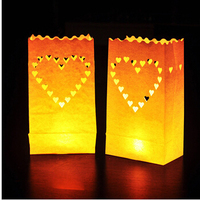 20pcs 2packs Heart Tea Light Holder Luminaria Paper Lantern Candle Bag For BBQ Christmas Party Wedding