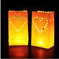 20pcs 2packs Heart Tea Light Holder Luminaria Paper Lantern Candle Bag For BBQ Christmas Party Wedding