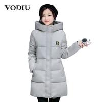 Vodiu Winter Jacket Women Ladies Parka Long Hooded Warm Basic Jackets Solid Outwear Coat Pockets Casual