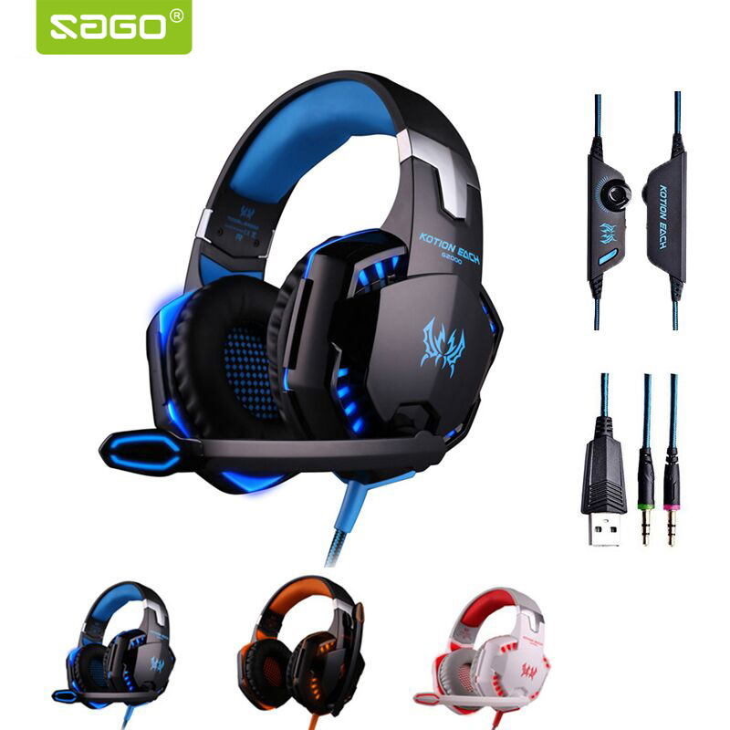 KOTION EACH 3.5mm Earphone Gaming Headset Gamer PC Headphhone Gamer Stereo Gaming Headphone With Microphone Led For RU Stock