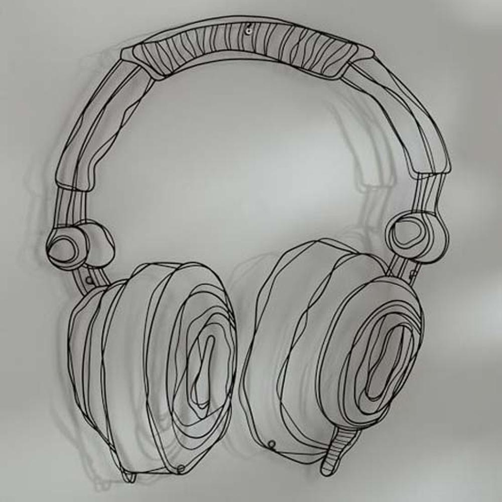 Wire Wall Decor Metal Wire Guitar Wall Decor Art Music Wall Sculpture Wire Headset