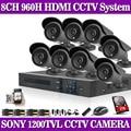 8ch hdmi dvr sony 1200tvl impermeable al aire libre de la cámara cctv Sistema de Cámaras de seguridad 8CH DVR Kit sistemas de seguridad con 1 TB