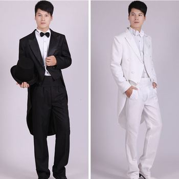 Men Suits 4 Piece (Jacket+Pants T+Bow Tie+Belt) Tailcoat Suits Men's Blazers Slim Fit Groom Wedding Prom Tuxedo  Man Suit