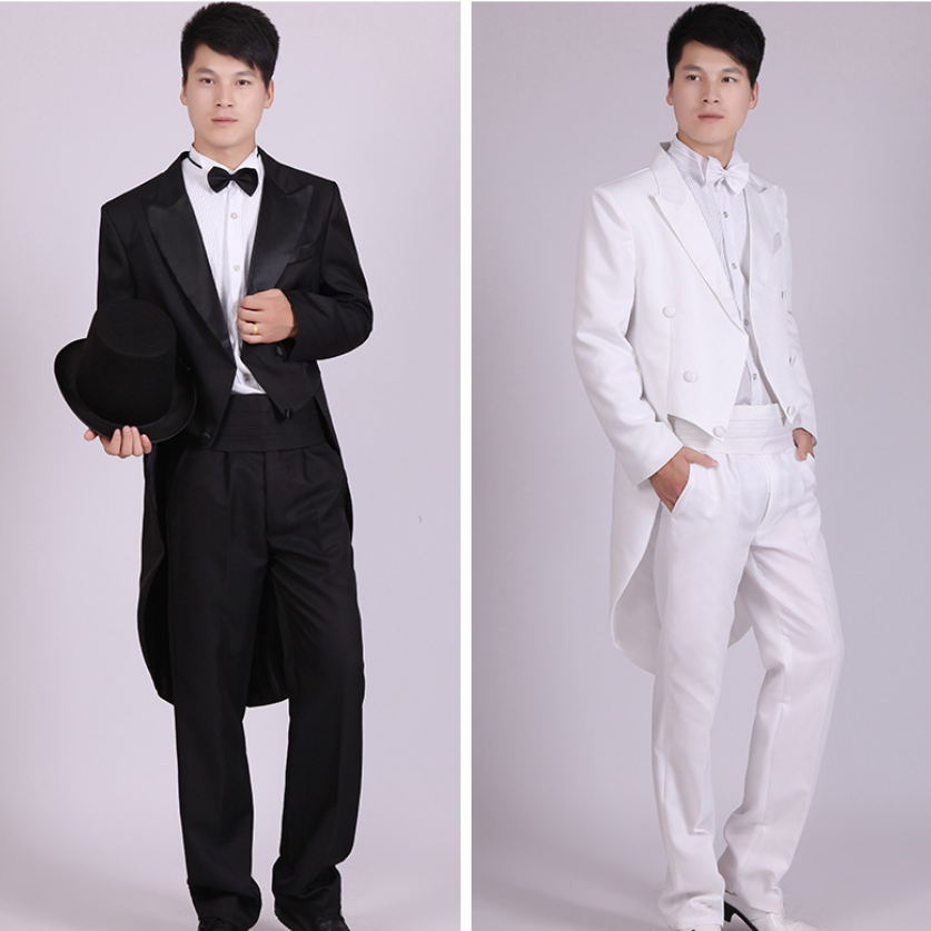 Men Suits 4 Piece Jacket Pants T Bow Tie Belt Tailcoat