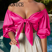 2019 Sexy Satin Slik Crop Top Women Bow Sashes V Neck Crop Top Half Sleeve Cropped Backless Summer Party Cropped ladies Tank Top