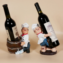 Hot sale one pc resin wine rack brothers chef creative gift table wine bottle holder 2 designs to select