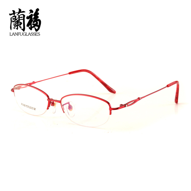 8c7f3e178e64 Pure Titanium woman Eye Glasses frame half Spectacle Fashionable Lady Oval  Optical Custom Myopia Prescription Oculosdegrau8302