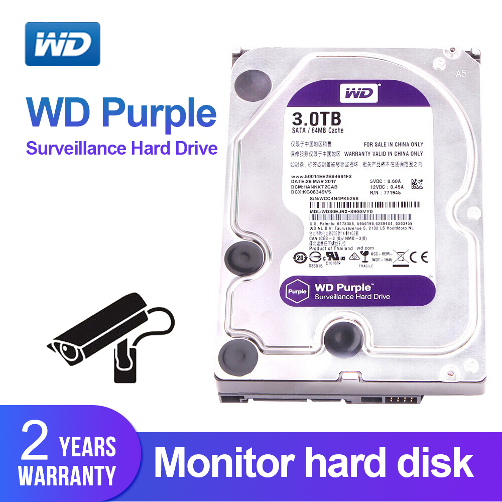 Western Digital WD Purple 3TB 3 5 Surveillance Disk Hard Drive SATAIII 6 0Gb s for