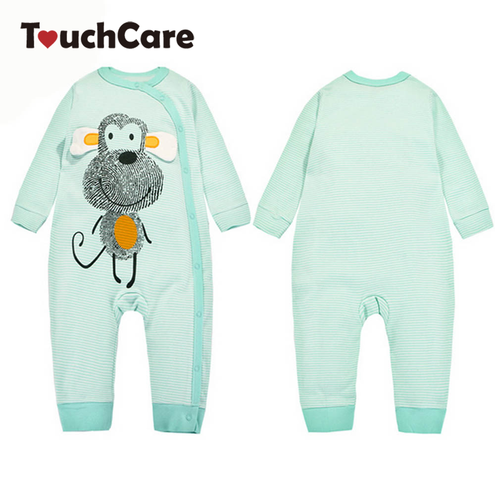 Infant Cute Cartoon Animal Monkey Printed Baby Boy Girl Rompers Newborn Cotton Long Sleeve Clothes Stripe Ropa Bebes Costume infant cute cartoon dinosaur baby boy girl rompers soft cotton car printed long sleeve toddler jumpsuit kids clothes
