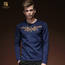 Free Shipping fashion New Autumn male men's 2016 spring long sleeved Men embroidery t-shirt slim casual sweater 15530 on sale