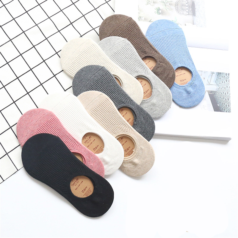 Solid Color No Show   Socks   Women Boat Invisible Girls Cotton Women   Socks   Slippers 5 Pair