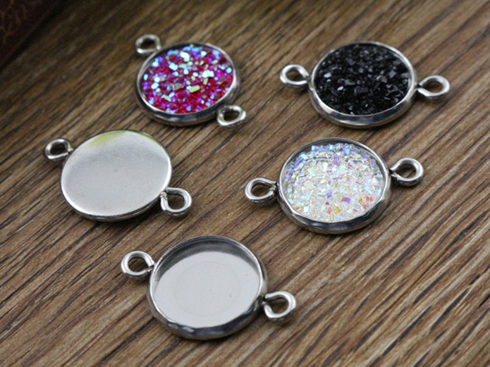 16pcs 12mm Inner Size Stainless Steel Material Simple Style Cabochon Base Cameo Setting Charms Pendant Tray (A2-37) mibrow 10pcs lot stainless steel 8 10 12 14 16 18 20mm blank french lever earring tray cabochon setting cameo base jewelry