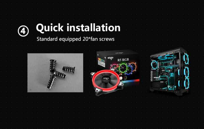Aigo R5pro Fan 4 P-12 V Aura Sync Penggemar Komputer Desktop12cm Fan Tenang IR Remote Komputer Cooler Pendingin RGB Kipas Case