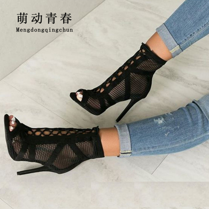 New Europe Brand Women High Heels Sandals Open Toe Hollow Out Pumps Shoes Lace Up Mesh Party Evening Shoes Glatiator Women Pumps