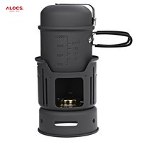 ALOCS CW C01 Portable 1 2 Person 7pcs Camping Stove Cook Set with Pot Bowl Alcohol Stove for Outdoor Hiking Picnic
