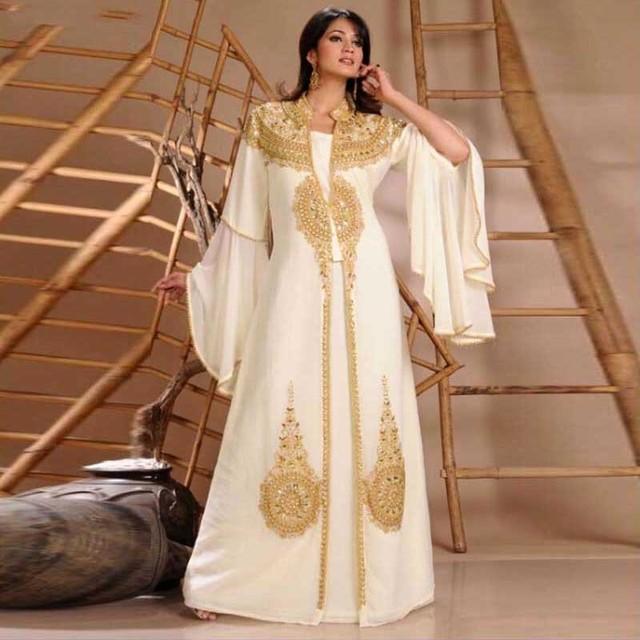 34ccf5c01a1 2015 Robe De dubaï mousseline De soie blanche musulmane Robe De soirée or perles  arabe Robe