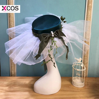Vintage Wedding Hats For Women Elegant Bow Pearls Tulle Lace Bohemian Beach Wedding Bridal Hats Summer