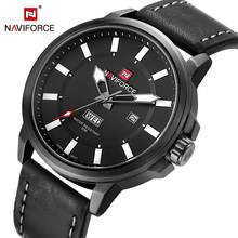 Naviforce marca de moda de lujo de los hombres relojes de pulsera de cuarzo de cuero negro reloj analógico casual hombre reloj relogio masculino