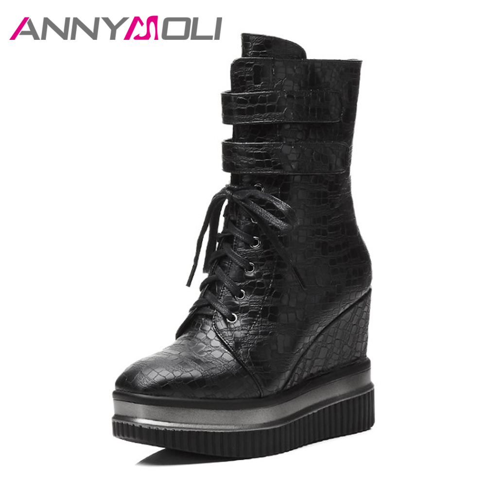 ANNYMOLI Women Boots Platform Wedge Heels Mid Calf Boots Zipper 2017 Ladies Winter Shoes Size 34-39 Hidden Wedge Footwear Black zippers double buckle platform mid calf boots