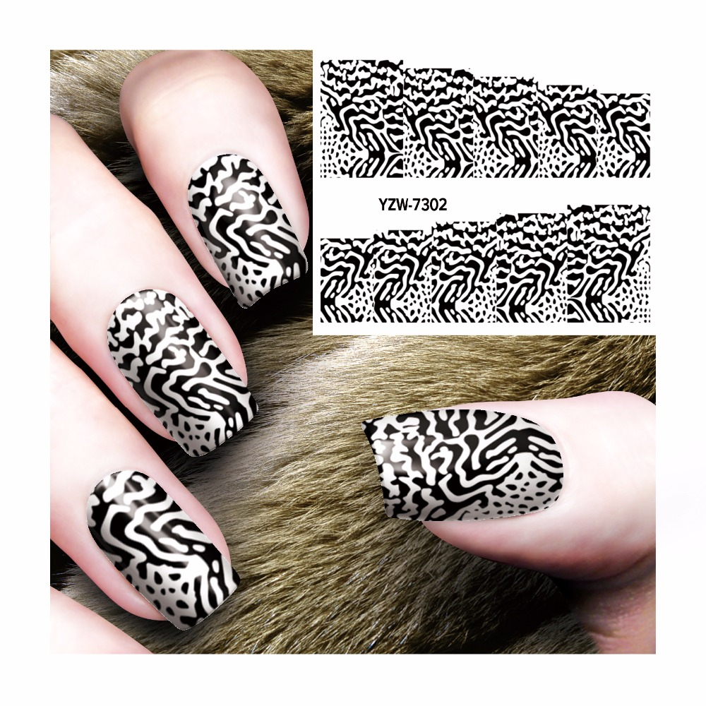 Diy Snow Leopard Nail Art: YWK 1 Sheet DIY Nail Manicure Salon Sticker Leopard Water