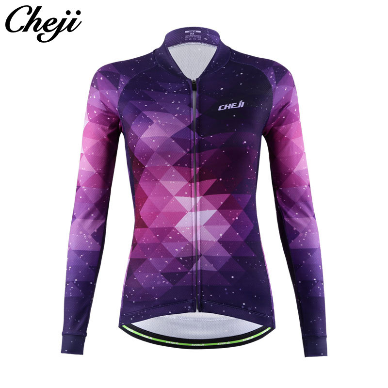 Cheji велосипед Костюмы Quick Dry starrysky узор Для женщин с длинным рукавом Велоспорт Джерси Pro Team дышащий Велосипедный Спорт Одежда