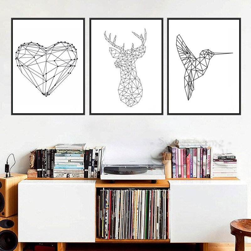▻Geométrica Deer Head corazón forma woodpecker lona A4 no Marcos ...