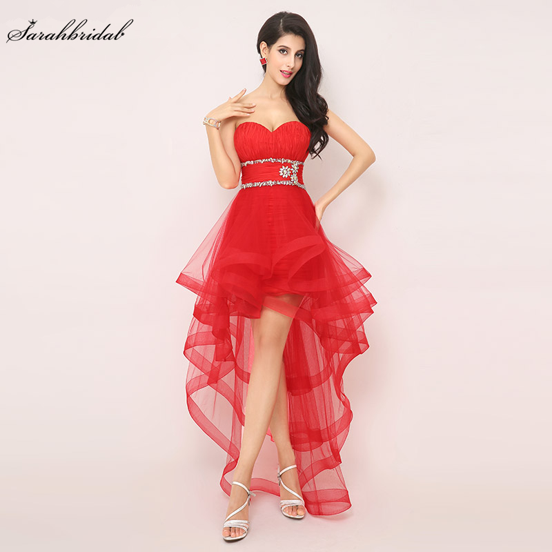 In Stock High Low Sexy Red   Prom     Dresses   Sweetheart Tulle   Prom     Dresses   Party Gown Beaded Waist Pleat Real Picture AJ014