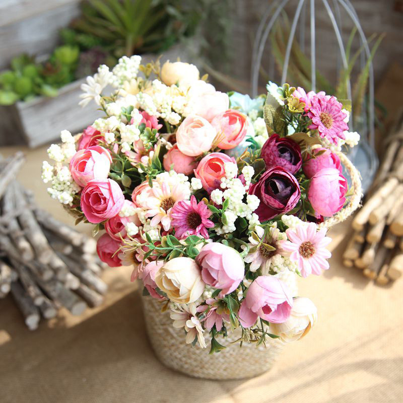 Artificial Roses Bouquet Touch Flowers with Dragon Ball For Home Garden Wall Wedding Celebration Outdoor Indoor <font><b>Decoration</b></font>