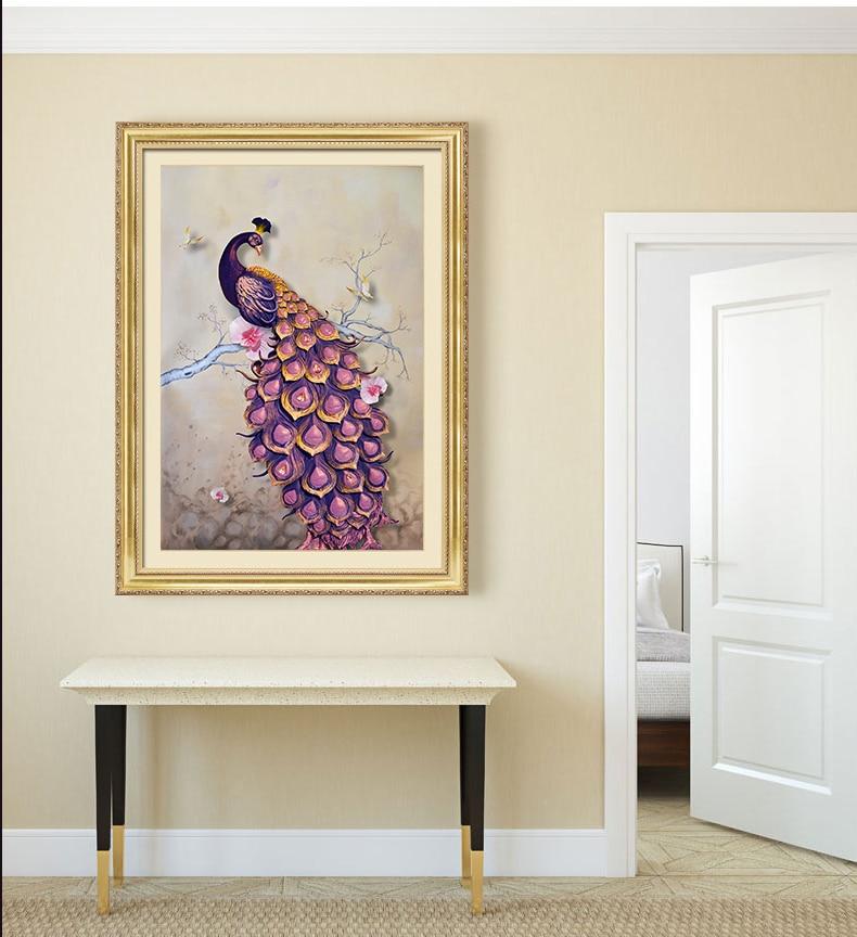 New DIY 5D diamond paintings, inlaid round diamond paintings, peacock cross stitch suites, home decor, handicrafts