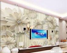 beibehang Custom living room background wall 3d wallpaper 3D stereo HD jewelry diamond flower photo papel de parede