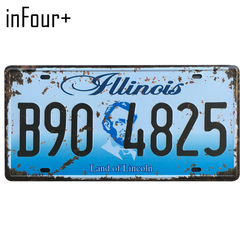 [inFour+]B90-4825 License Plate Metal Plate Car Number Tin Sign Bar Pub Cafe Home Decor Metal Sign Garage Painting Plaques Signs