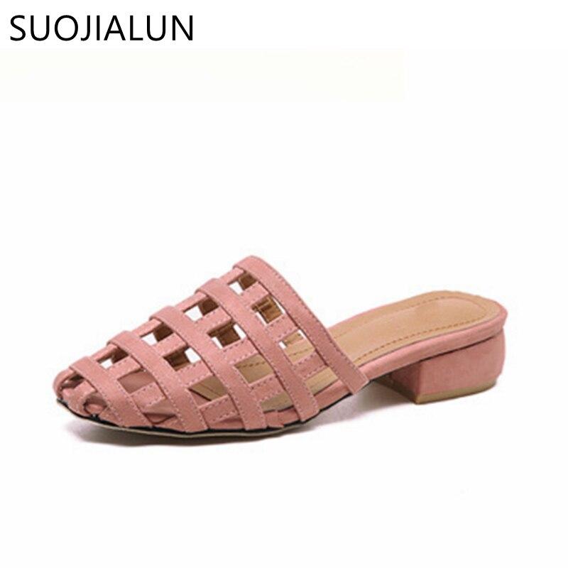 Suojialun 2018 модные женские туфли вне Шлёпанцы для женщин слипоны пляжная обувь Повседневные шлепки на плоской подошве женский Комнатные шлепа...