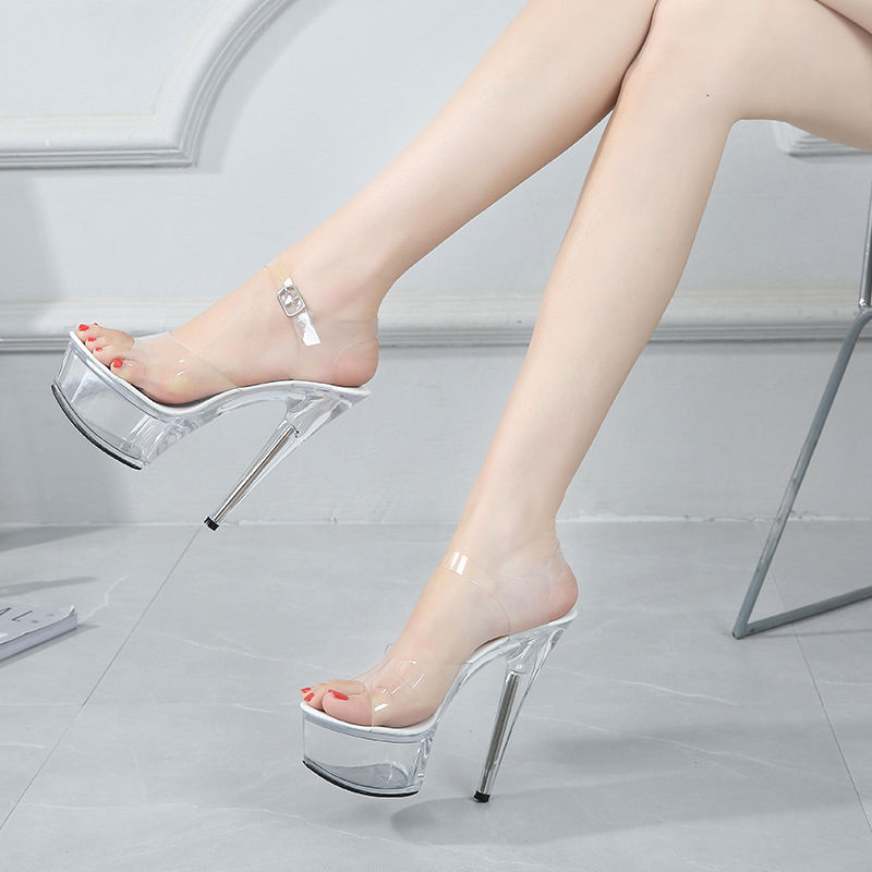 2019 New Sexy Women High Heels 15cm Summer Woman Transparent Crystal Shoes Sandals Big Size 34-43 Thin Heel Wedding Shoes V2547