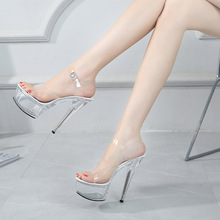2020 New Sexy Women Shoes High Heels 15cm Summer Woman Transparent Crystal Platform Sandals Plus Size Thin Heels Wedding Shoes