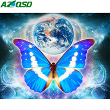 AZQSD Diamond Painting Butterfly Handmade Crafts Picture Of Rhinestones Mosaic Animal Home Decor Gift Needlework