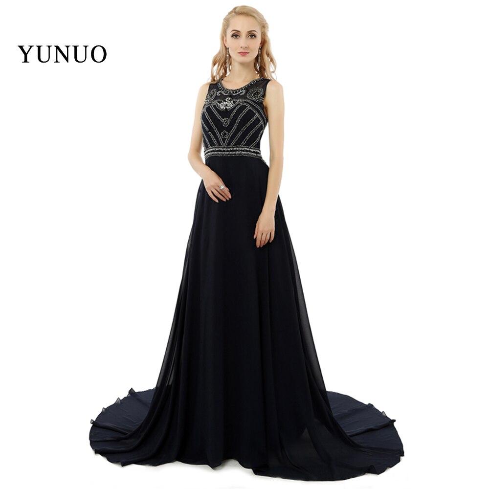 4ae4a3adee New Arrival Floor Length O-Neck Spaghetti Strap Beaded Sexy Long Prom  Dresses Black Court Train Elegant Women Dresses x08171