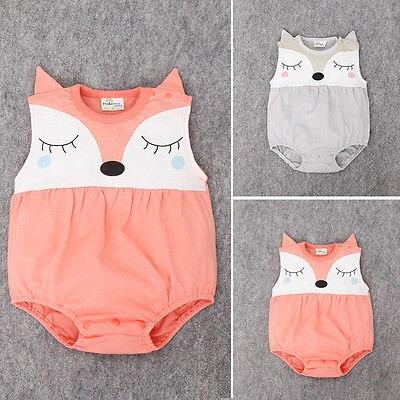 0-24m Neugeborenen Babykleidung Niedlich Cartoon Fuchs Body Sommer ärmellose Kleinkind Kinder Baby Body Kleidung Strampler Bodys SchöNer Auftritt
