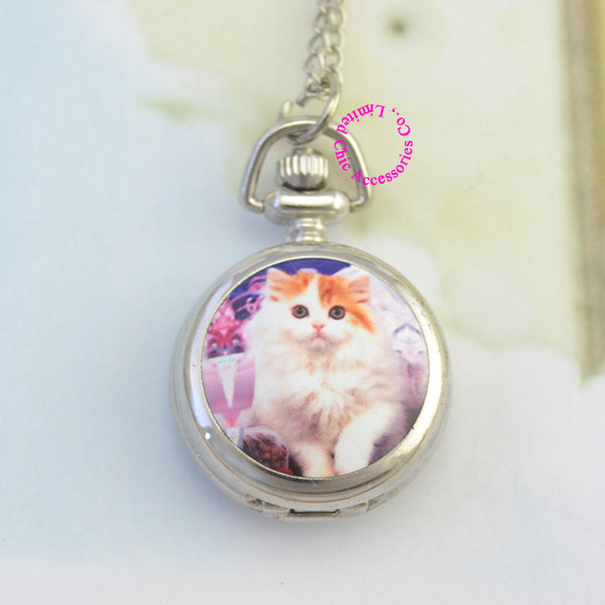 US $4 48 |new fashion silver girl lady women fob cute persian cat pocket  watch necklace chain hour wholesale buyer low price antibrittle on