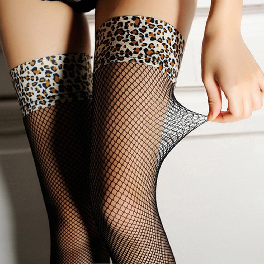 Pair Black Nylonsex Leopard Print Stockings Dreamgirl Sexy -5770