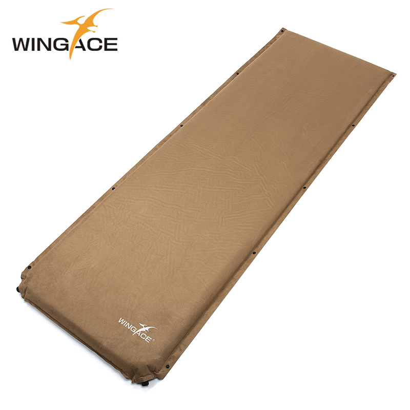 WINGACE Inflatable Mattress Camping Mat Outdoor Tent Sleeping Pad self inflat Mat Camping Bed Suede Damp