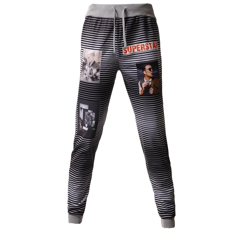 T-bird New 2018 Brand Casual Joggers Pinstripe Pattern Printing Compression Pants Men Cotton Trousers Calabasas Sweatpants Mens