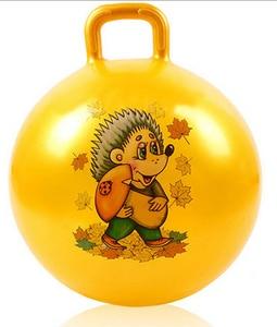 Надувные игрушки для детей, мяч для подпрыгивания, ручка для шарика, произвольный узор и цвет