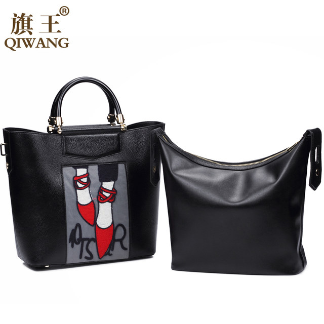 Qi Embroidery Handbag Woman Luxury Fashion Shoes Bag Real Leather Tote Paris Brand Designer France