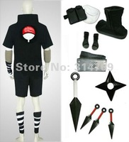 Amime Naruto Cosplay Costumes Uchiha Sasuke 2nd Black Men's Costume Set with Weapons Halloween Party Cosplay