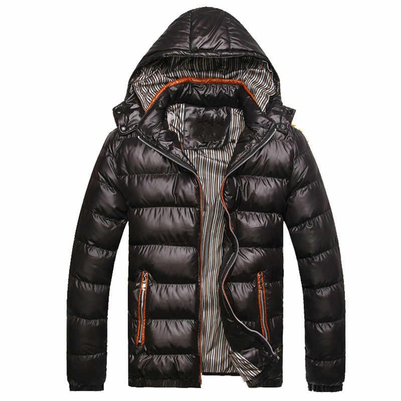 Новинка 2019 года мужские зимние куртки повседневные парки для мужчин  бурелом одноцветное качество толще пальто для 99523f165bb77